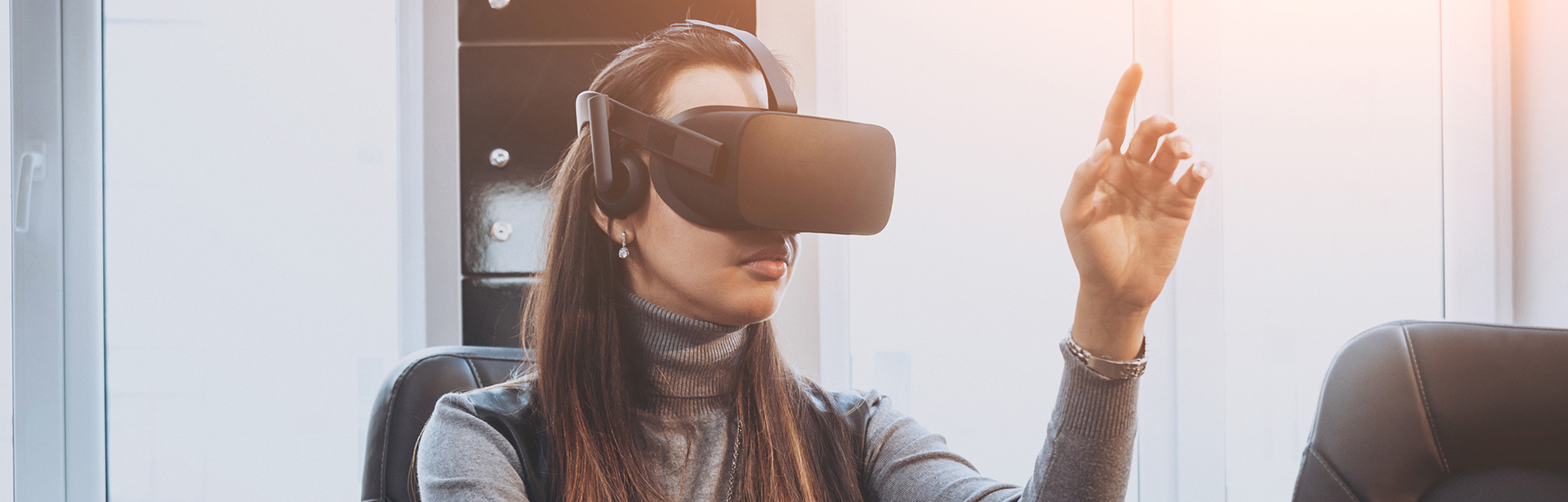 Woman using VR to learn soft skills